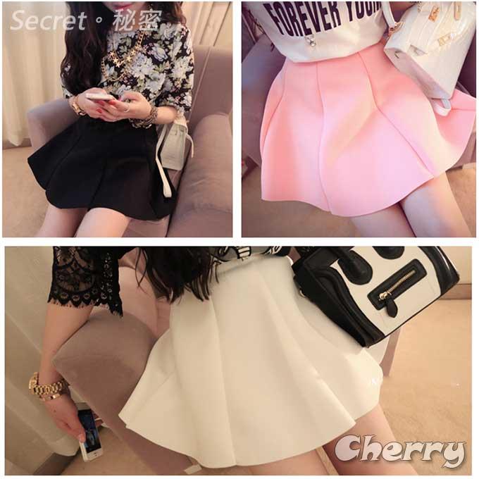 韓版蓬蓬感棉質鬆緊腰氣質短裙
