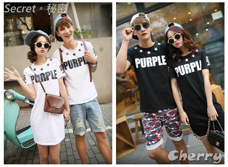 韓版星星領字母T恤 情侶裝