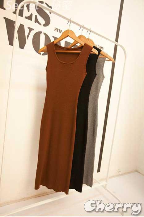 韓版收腰包臀針織連衣連身長裙