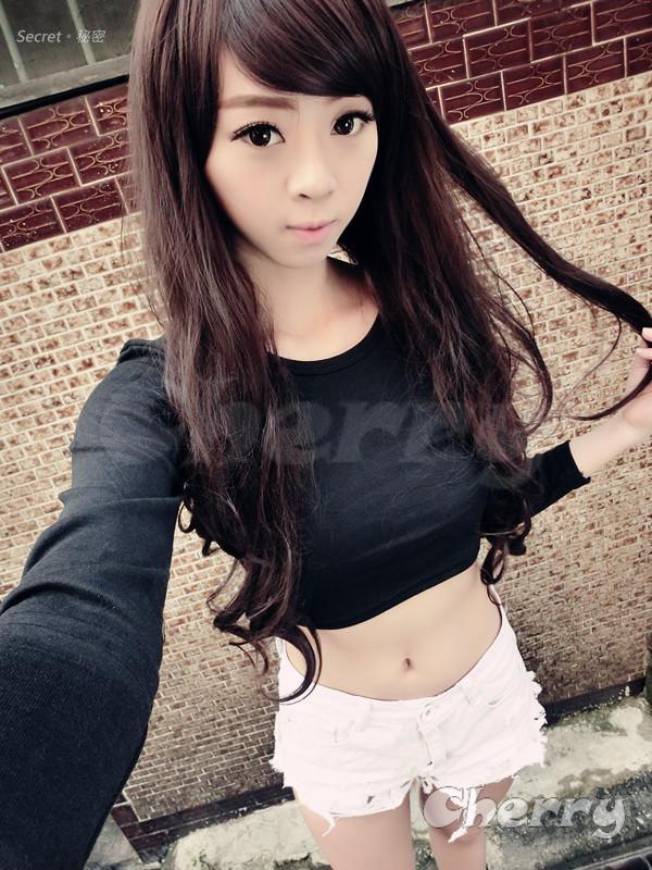 圓領露臍高腰純棉長袖T恤-黑色