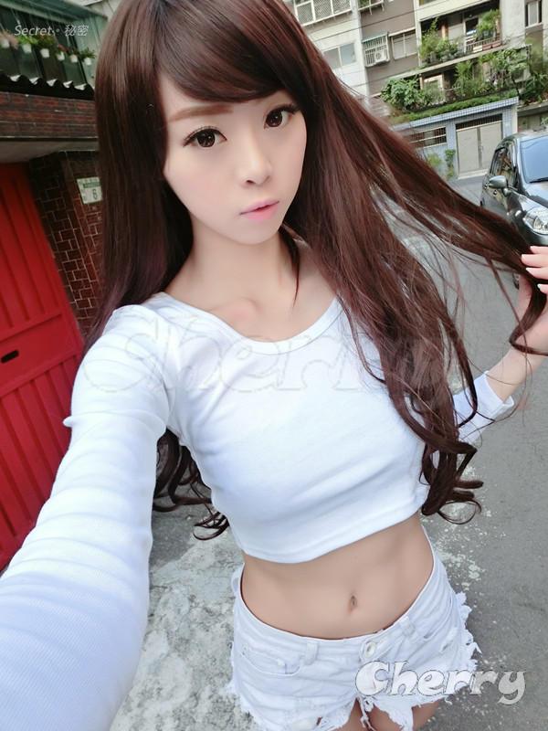 圓領露臍高腰純棉長袖T恤-白色