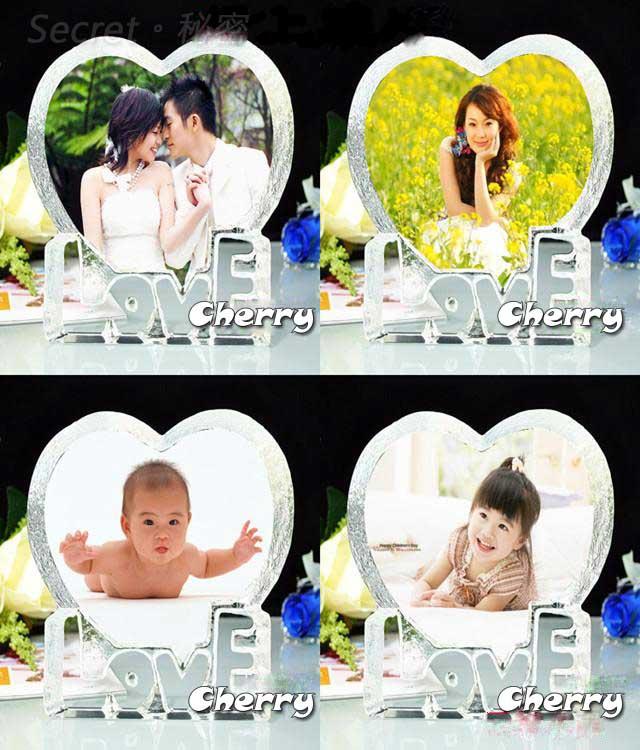 水晶 LOVE 愛心+MP3 七彩 LED 旋轉台 音樂盒 中號 - 可自行灌 MP3