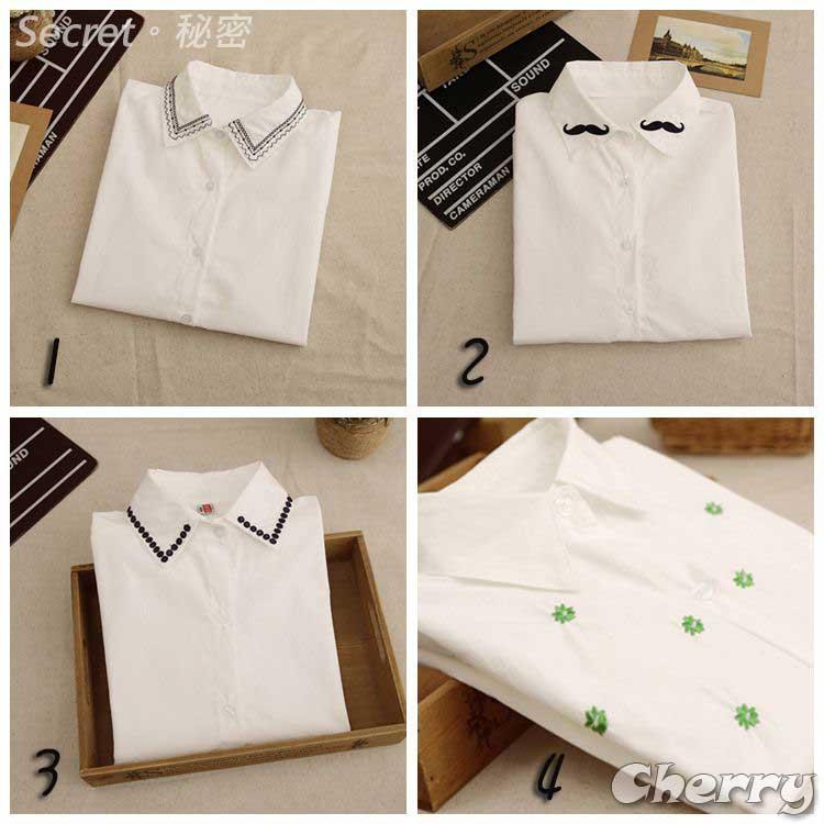 韓版滌綸刺繡領打底長袖白襯衫