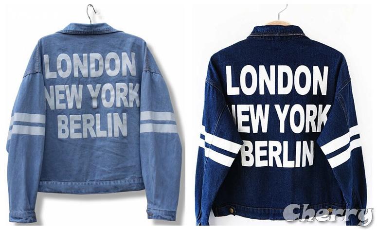 後背字母印花短款寬鬆外套
