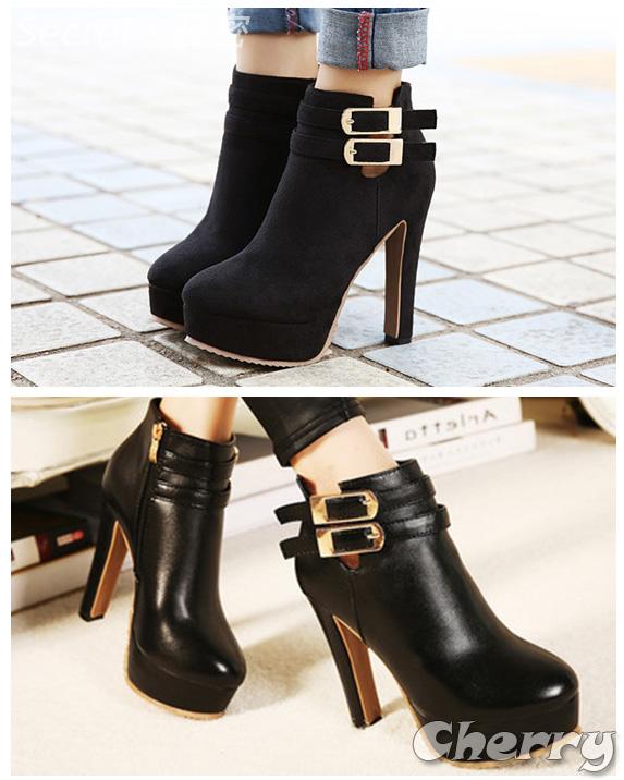 歐美時尚皮帶扣圓頭粗跟短靴