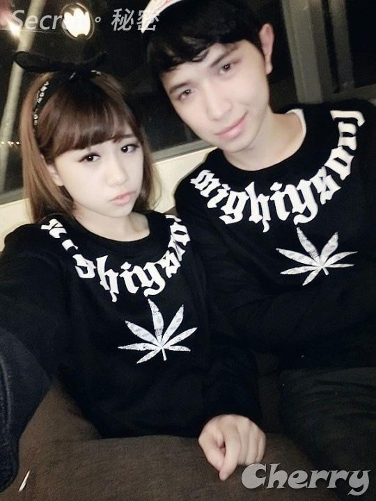 韓版字母大麻葉圖騰情侶男女潮T