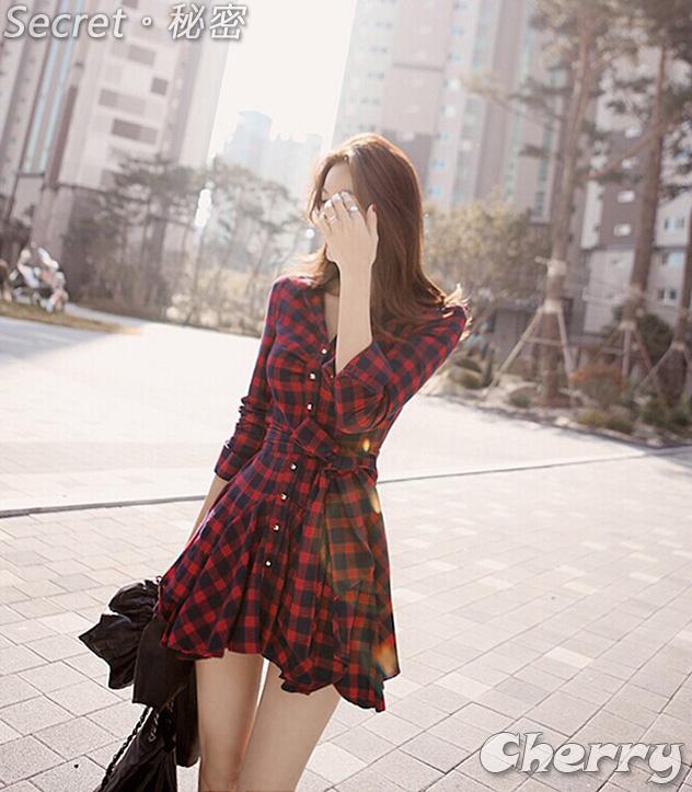 氣質收腰紅格連身裙