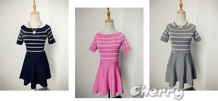 針織條紋高腰連身傘裙
