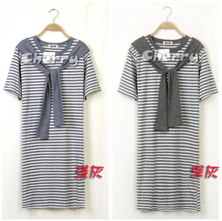 假兩件海軍風條紋短袖連身裙
