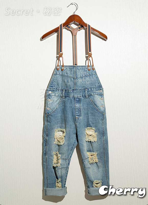 韓版 男 吊帶刷破水洗直筒九分褲