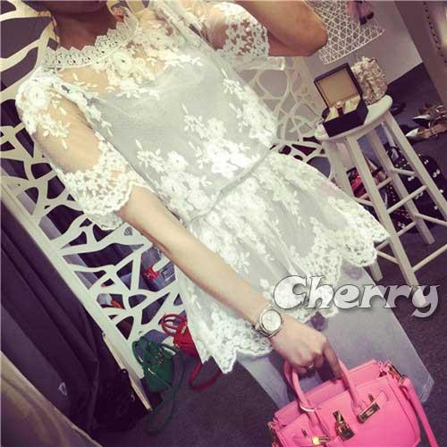 蕾絲甜美鉤花罩衫 吊帶裙兩件套