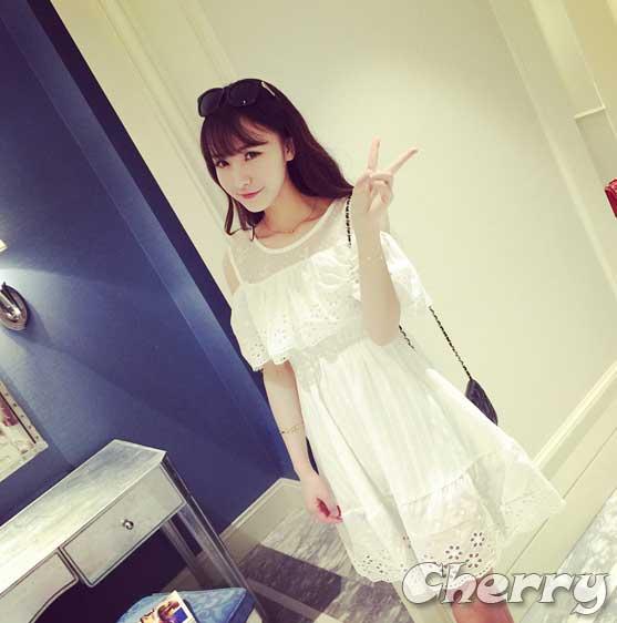 純白小香風蕾絲棉麻收腰連身裙