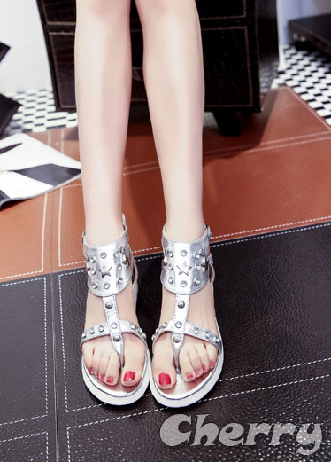 水鑽夾腳羅馬休閒涼鞋