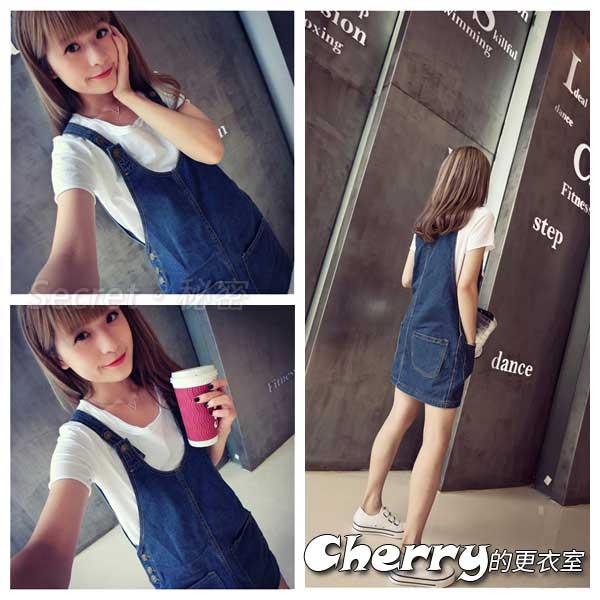 韓版學院風顯瘦寬鬆無袖牛仔連衣裙口袋牛仔裙