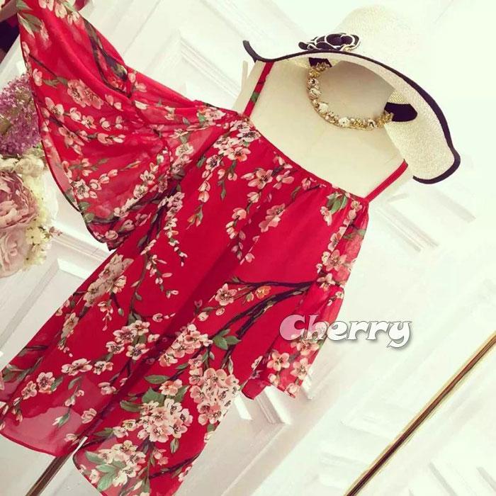 仙女露肩雪紡吊帶氣質洋裝
