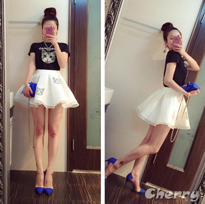 字母貓咪印花短袖上衣+高腰蓬蓬短裙套裝