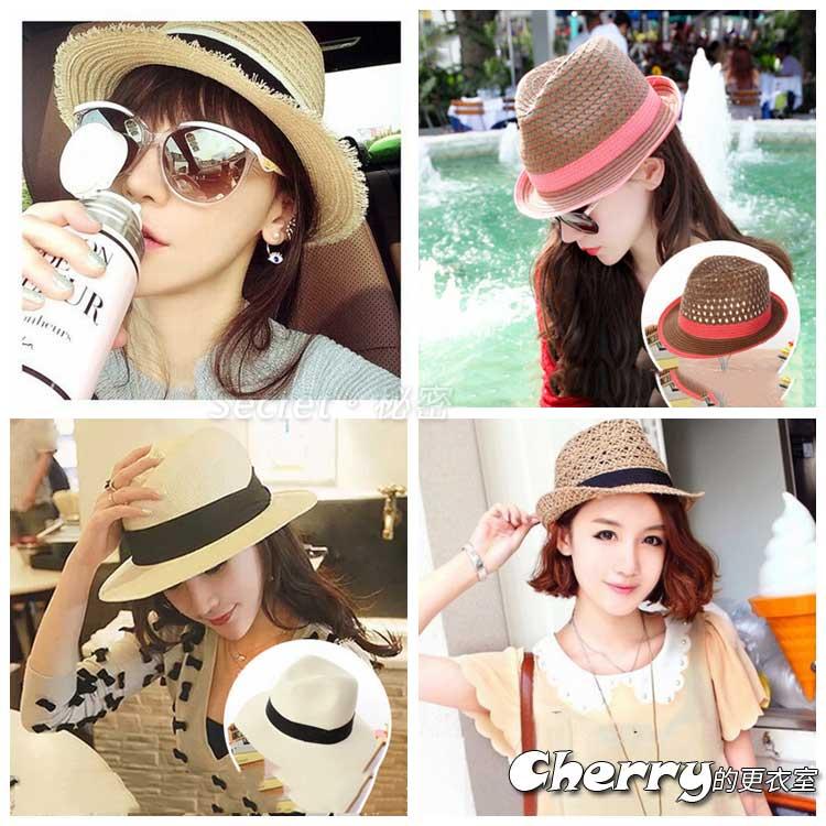 韓版海灘出遊草編大帽沿草帽太陽帽沙灘帽遮陽帽
