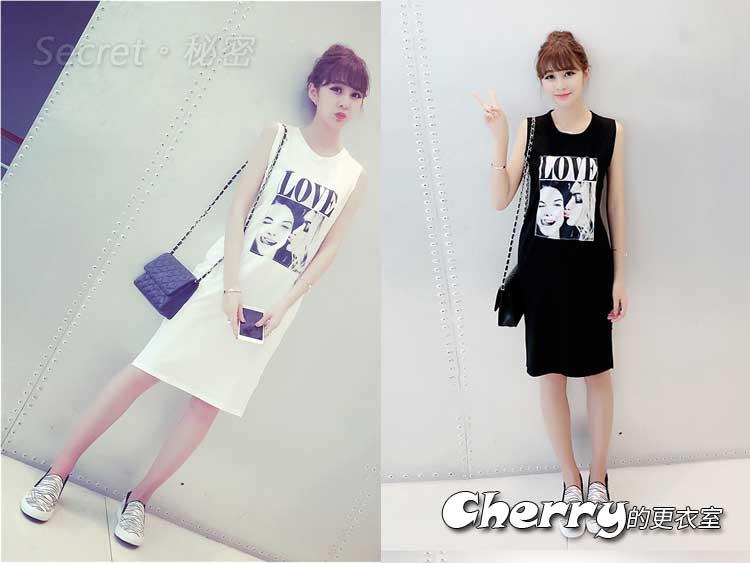 韓版LOVE字母圖案印花個性化無袖中長款T恤背心連身裙
