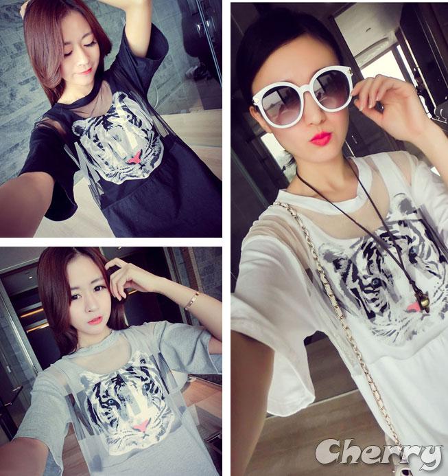 韓版百搭兩件套虎頭字母印花T恤連身裙