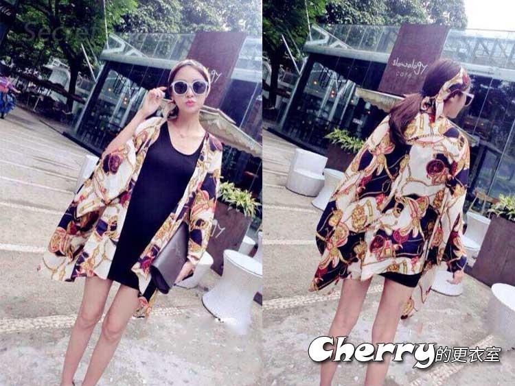 韓版印花罩衫披肩+顯瘦背心裙+頭巾三件套