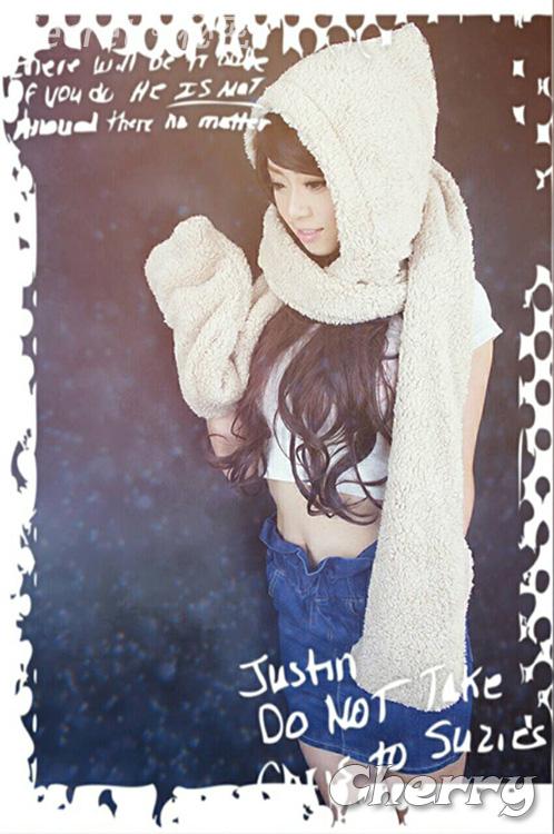 韓國版秋冬天連帽子圍巾羊羔毛絨加厚情侶圍脖手套