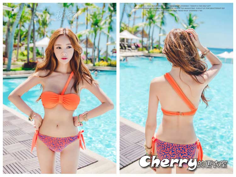 韓版分離式鋼圈抺胸三角兩件式比基尼泳裝