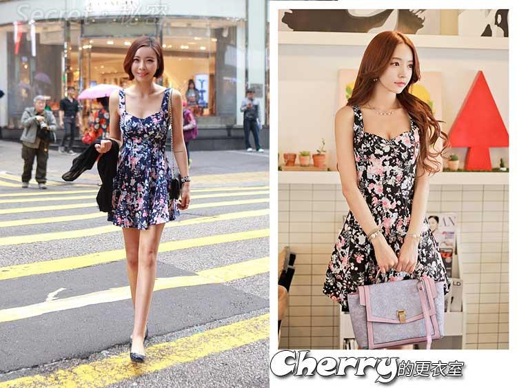 韓版復古印花露背吊帶高腰連身裙碎花沙灘裙