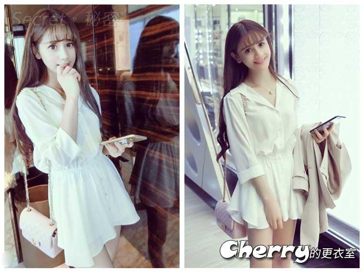 韓版氣質V領雪紡兩件套連衣裙