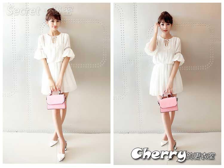 韓系時尚甜美五分袖蕾絲喇叭袖連身裙