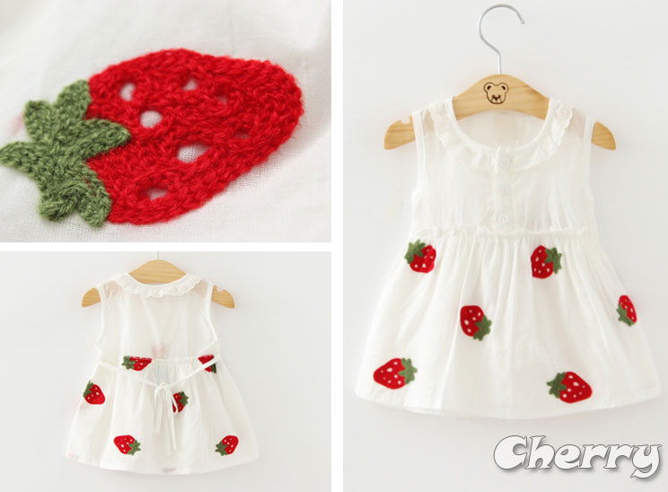 可愛草莓花朵印花寶寶無袖連身裙