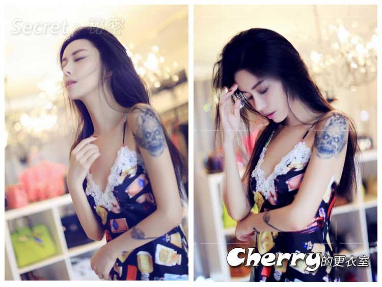 韓版香水瓶性感絲滑吊帶顯瘦連身裙