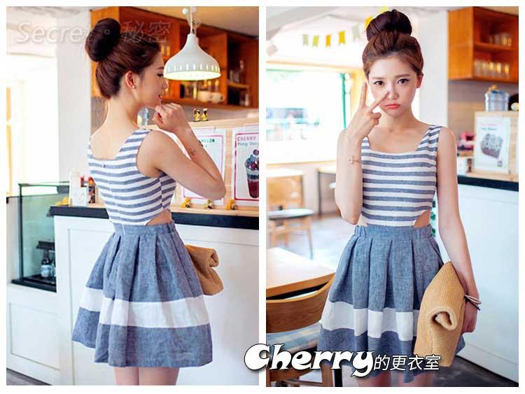 韓版水藍條紋圓領露腰連身打底裙連身裙高腰A字裙小洋裝
