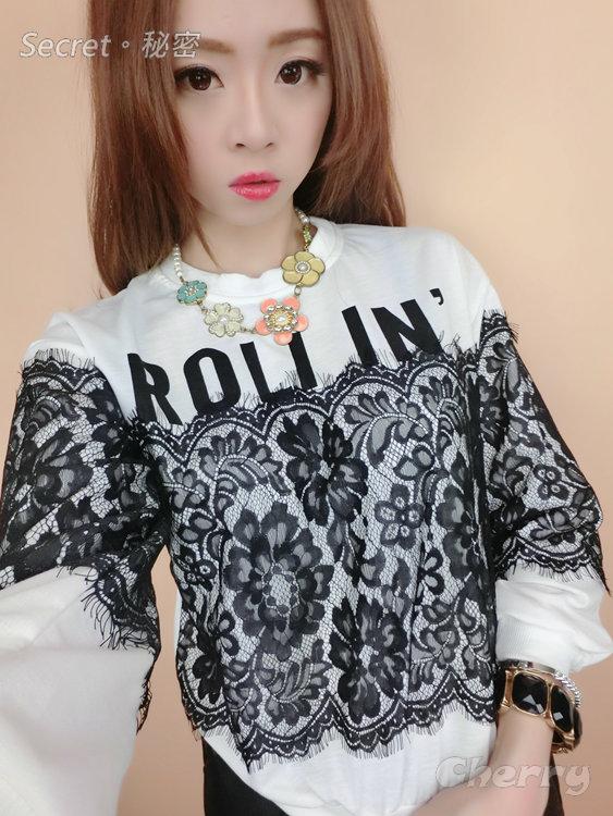 韓版蕾絲寬鬆字母上衣