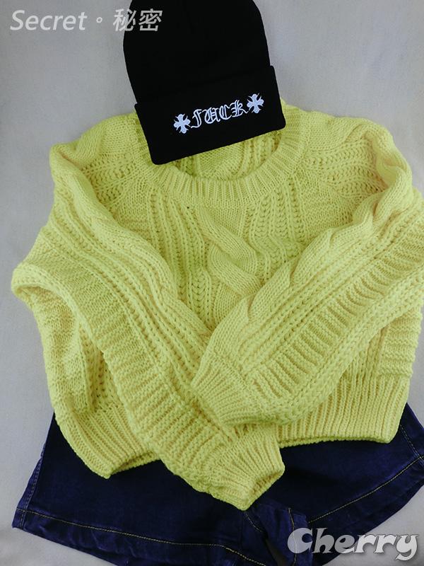 韓版圓領糖果色短款泡泡袖針織毛衣