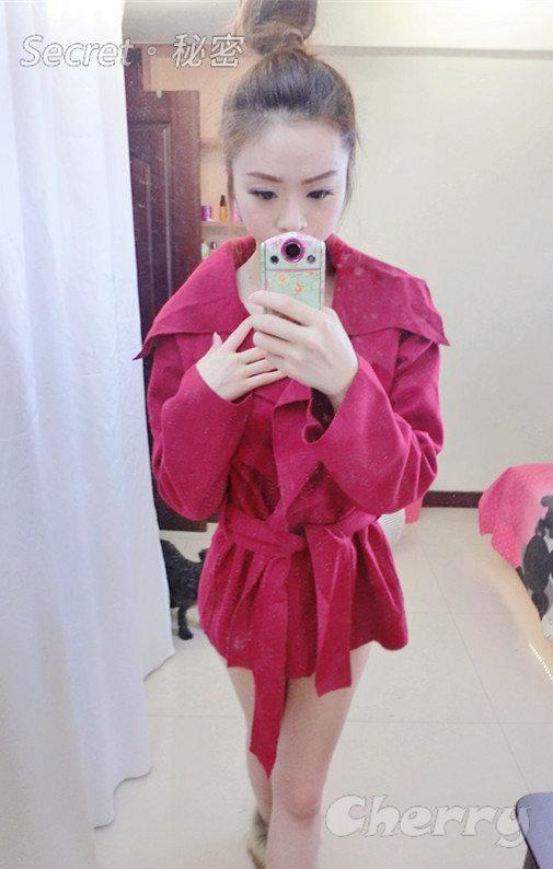 韓版氣質呢料純色背後腰帶翻領寬鬆風衣外套