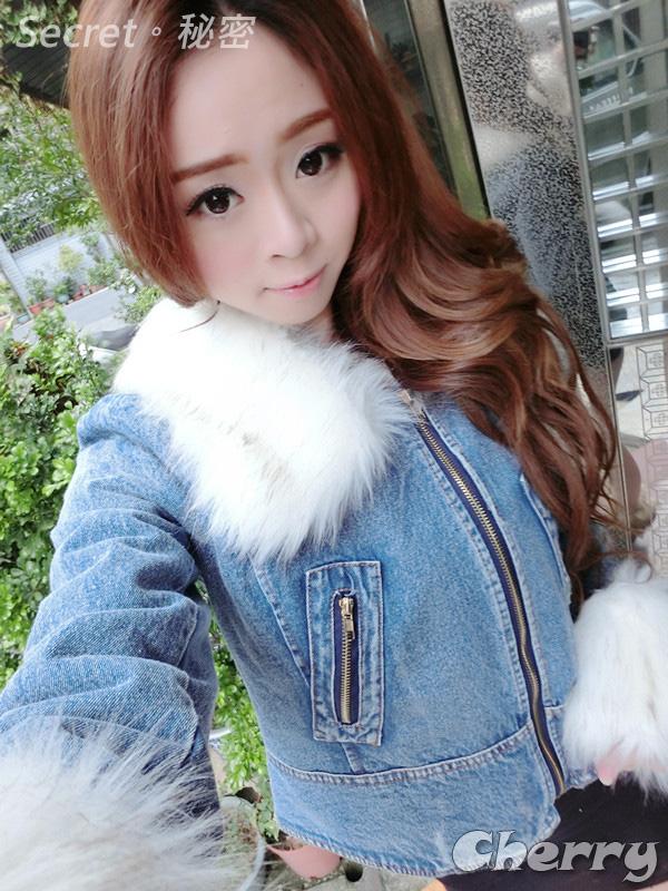 韓版可拆式毛毛領毛毛袖牛仔外套