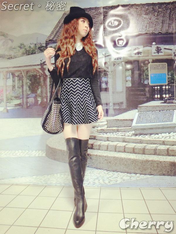 多種花色傘狀圖形針織裙