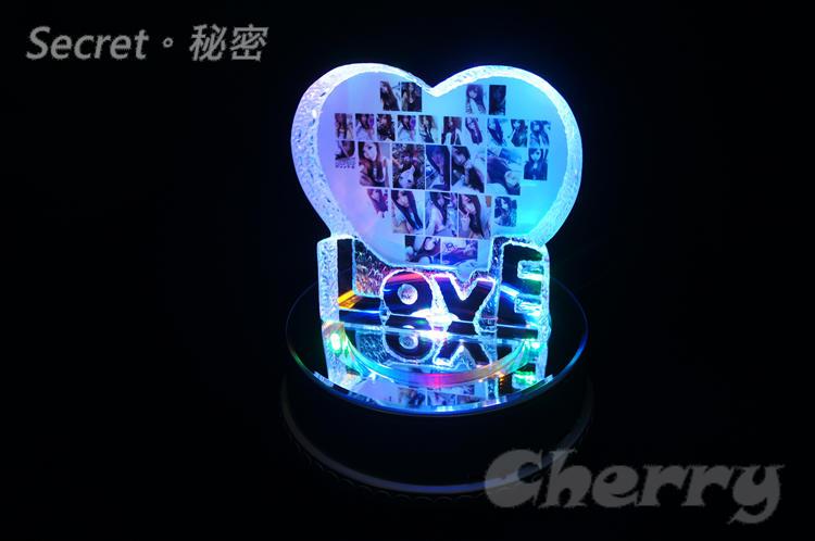 水晶 LOVE 愛心擺飾+MP3 七彩 LED 旋轉台 音樂盒 大號 - 客製化商品生日情人節結婚訂婚