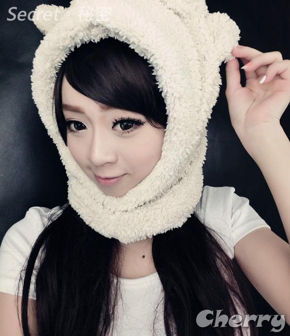 韓版連帽子圍巾兔耳朵超厚雙層超軟毛情侶圍脖手套