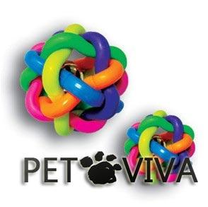 【PET VIVA】寵物玩具 七彩鈴鐺無毒橡膠編織玩具鈴鐺球 貓狗響鈴磨牙咬球 小號