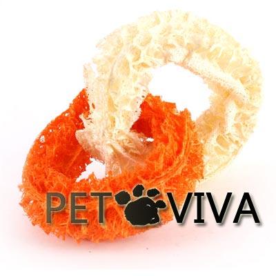 【PET VIVA】寵物玩具 天然植物絲瓜纖維二連環 磨牙潔齒除口臭