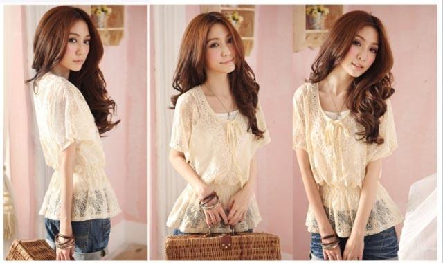 韓版性感甜美寬鬆蕾絲短袖兩件套上衣雪紡花邊針織衫