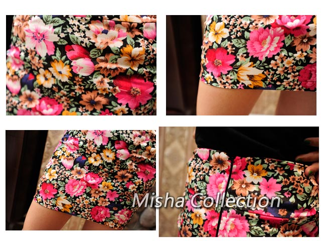 韓版花朵印花半身短裙A字裙