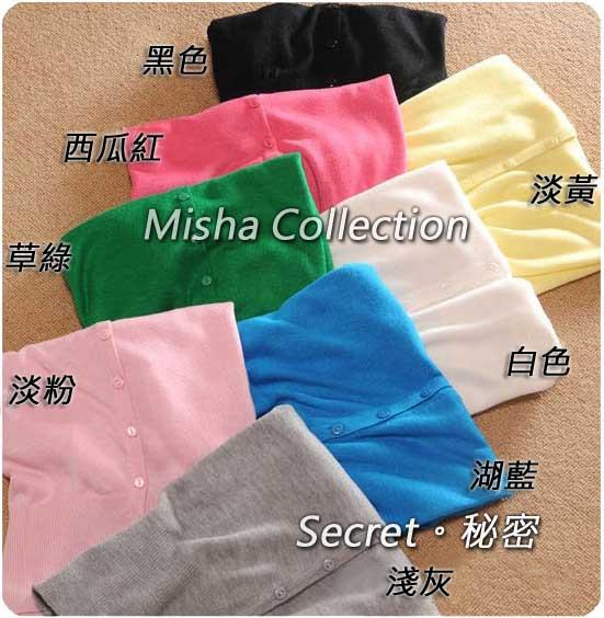 韓版甜美V領糖果色開衫鏤空線衫小披肩薄空調罩衫棉外套七分袖薄針織衫