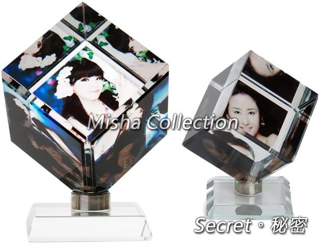 水晶影像 旋轉魔方立方體 相片寵物寶貝照片製作訂制 生日結婚情人聖誕節禮物