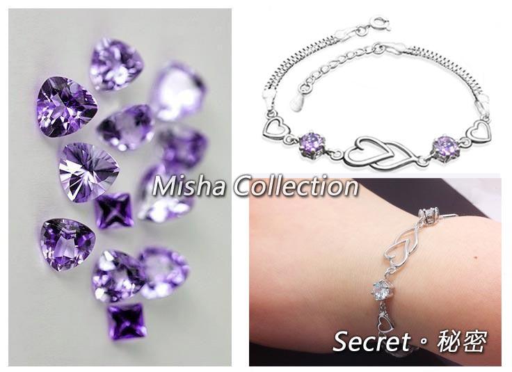 韓版 925銀 白紫愛心雙水晶手鏈飾品 情人節生日聖誕父親母親節禮物禮贈品