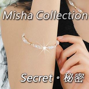 韓版創意滿鑽閃亮水晶鍍18K玫瑰金手鏈 情人節生日禮物