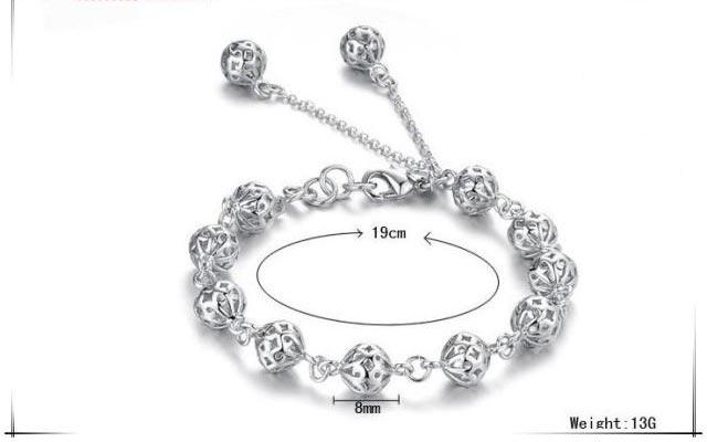 925銀 韓版時尚鏤空玲瓏球手鏈吊鍊 情人聖誕節父母親節生日禮物