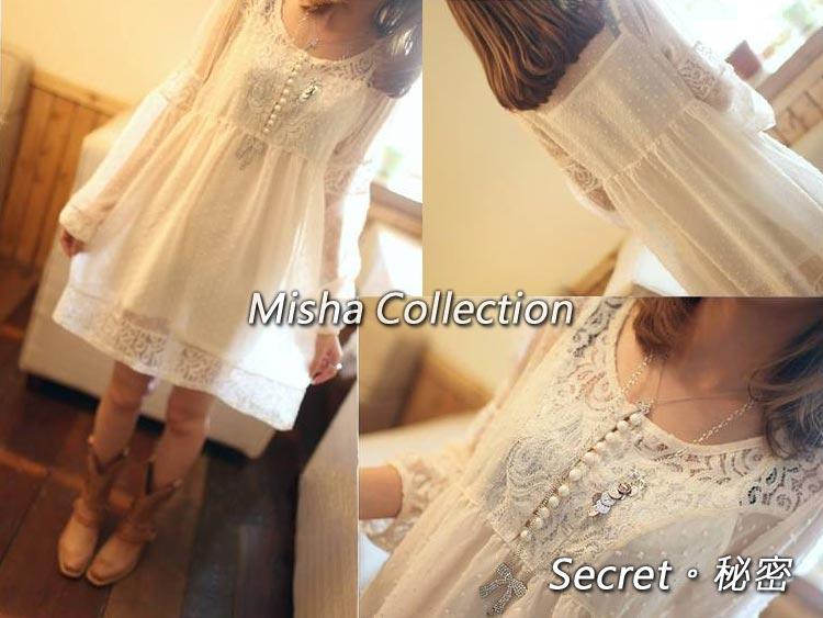 韓版兩件套時尚修身甜美鏤空泡泡蕾絲雪紡連衣裙公主裙