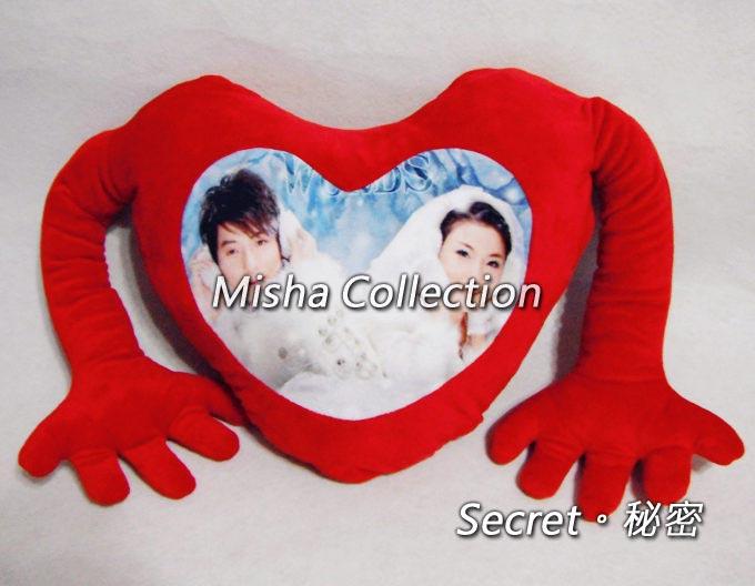 個性訂製定制DIY照片給我抱擁抱愛心型抱枕靠墊枕 情人聖誕節生日結訂婚禮物贈品